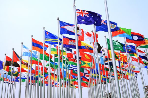 World national flags flying